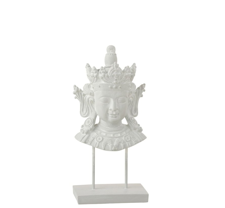 Decoration Buddha Head On Foot Poly - White