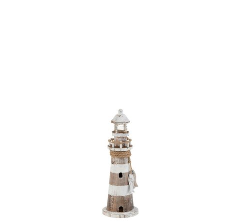 J -Line Decoration Lighthouse Wood Led White Wash Brown - Small