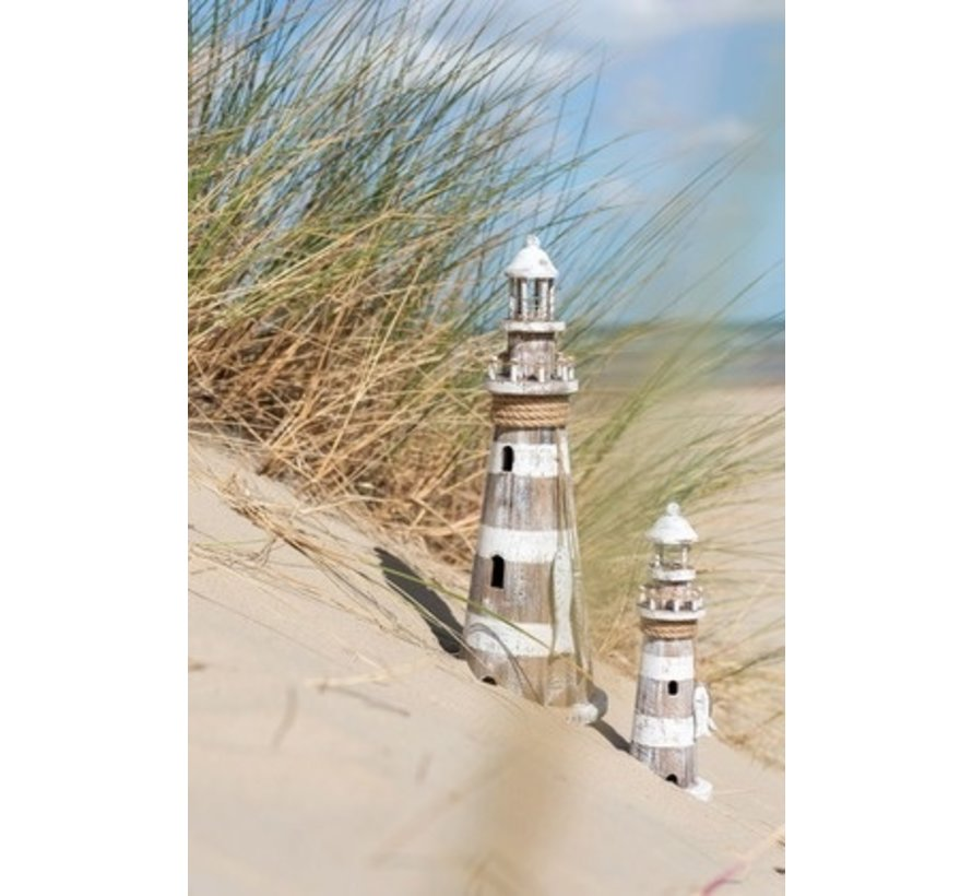 Decoration Lighthouse Wood Led White Wash Brown - Small