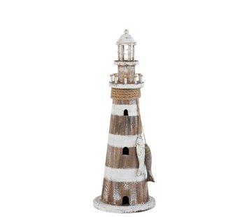 J -Line Decoration Lighthouse Wood Led White Wash Brown - Large