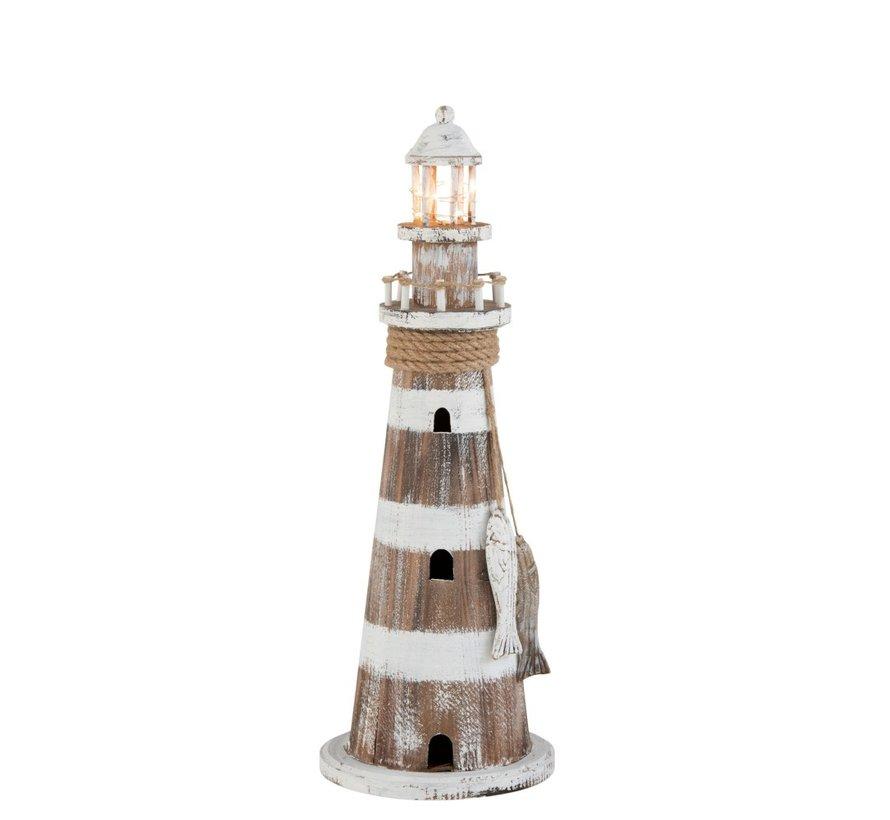 Decoration Lighthouse Wood Led White Wash Brown - Large
