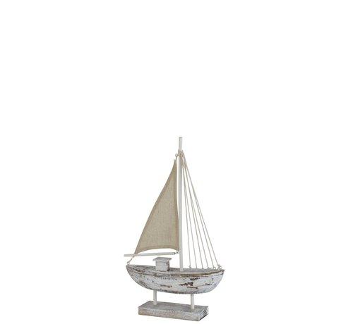 J -Line Decoratie Zeilboot Dennenhout Op Voet White Wash - Small