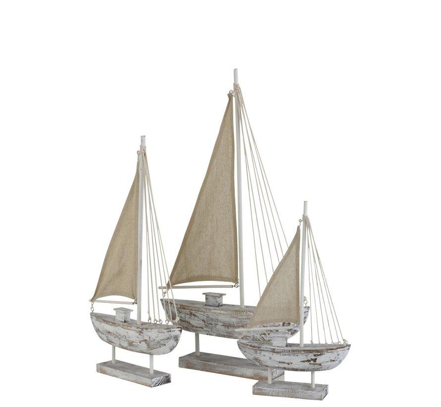 Decoratie Zeilboot Dennenhout Op Voet White Wash - Small