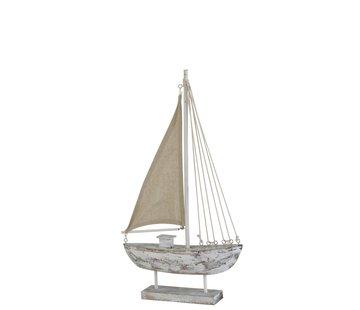J -Line Decoratie Zeilboot Dennenhout Op Voet White Wash - Medium