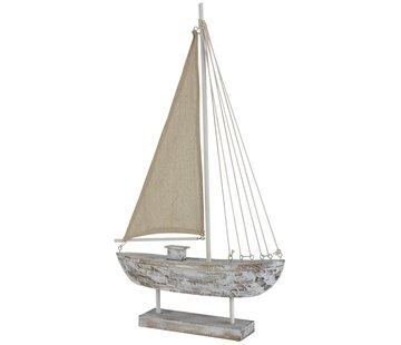 J -Line Decoratie Zeilboot Dennenhout Op Voet White Wash - Large