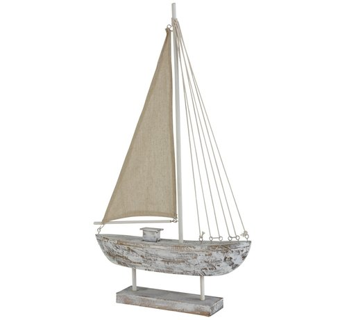 J -Line Decoration Sailboat Pine Wood On Foot White Wash - Large