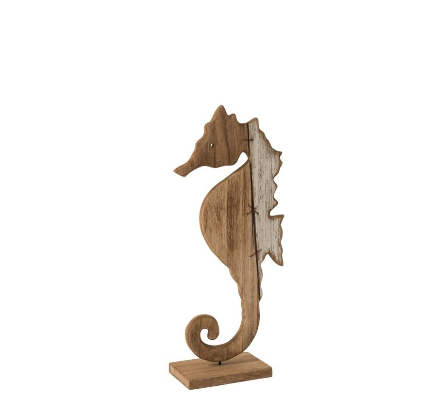 Decoration Sea Horse On Foot Wood Brown - White