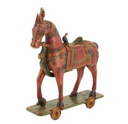 J -Line Decoration Horse On Wheels Mango Wood Mix - Colors