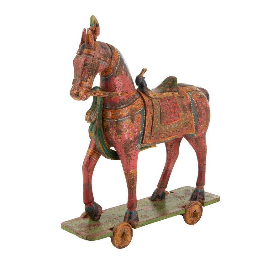 Decoration Horse On Wheels Mango Wood Mix - Colors