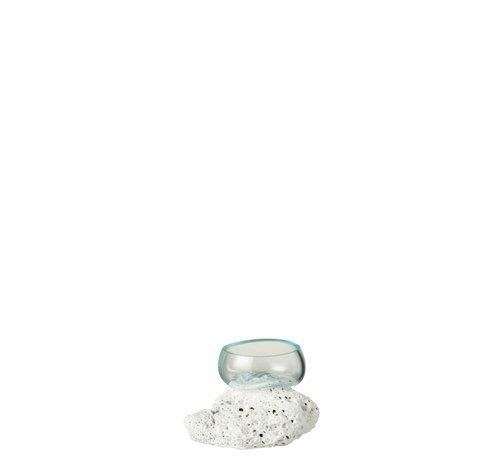 J-Line  Vaas Op Voet Lava Gerecycleerd Glass Natuurlijk Wit - Extra Small
