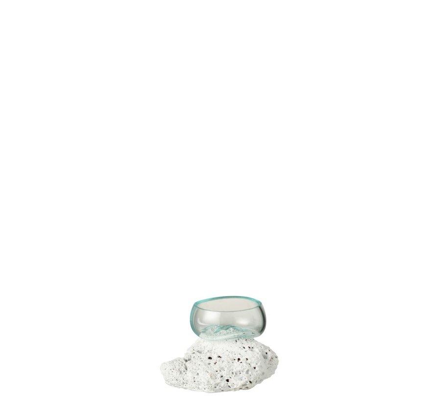 Vaas Op Voet Lava Gerecycleerd Glass Natuurlijk Wit - Extra Small