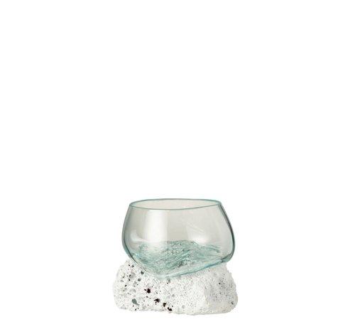 J -Line Vaas Op Voet Lava Gerecycleerd Glass Natuurlijk Wit - Small