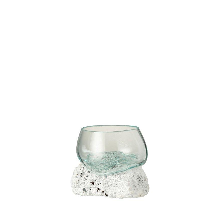 Vaas Op Voet Lava Gerecycleerd Glass Natuurlijk Wit - Small