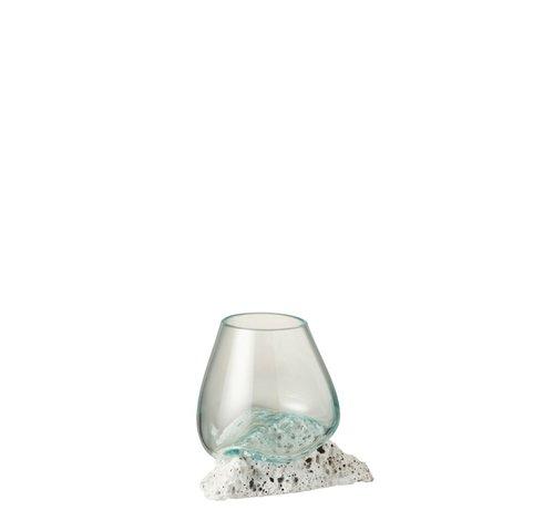 J -Line Vaas Op Voet Lava Gerecycleerd Glass Natuurlijk Wit - Medium