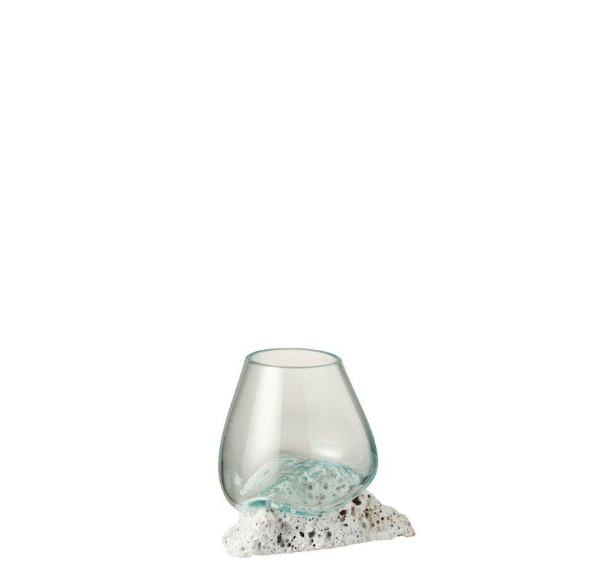 Vaas Op Voet Lava Gerecycleerd Glass Natuurlijk Wit - Medium