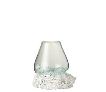 J -Line Vaas Op Voet Lava Gerecycleerd Glass Natuurlijk Wit - Large