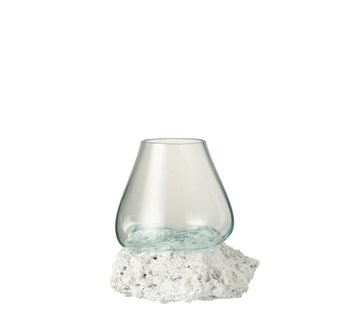 J -Line Vase On Foot Lava Recycled Glass Natural White - Large