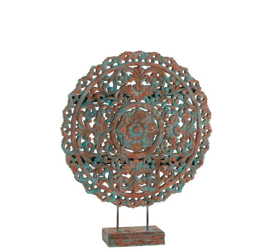 Decoratie Mandala Op Voet Mangohout Azuur Blauw - Oranje