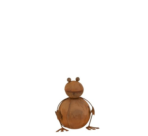 J -Line Garden decoration Frog Ironwork 3D Rust - Small