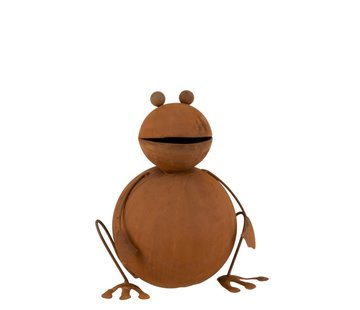 J -Line Garden decoration Frog Ironwork 3D Rust - Large