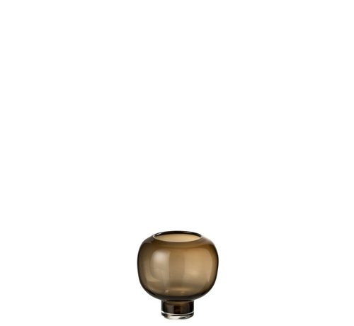 J -Line Vaas Glas Op Voet Rond Donkerbruin - Small