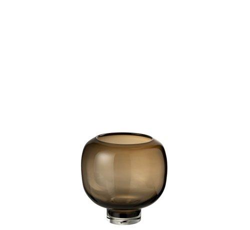 J -Line Vaas Glas Op Voet Rond Donkerbruin - Large
