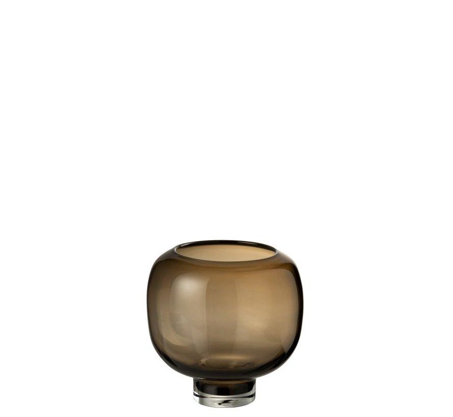 Vase Glass On Foot Round Dark Brown - Large