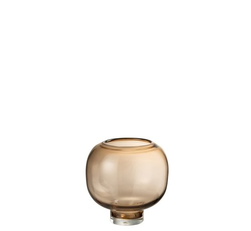 J -Line Vaas Glas Op Voet Rond Lichtbruin - Large