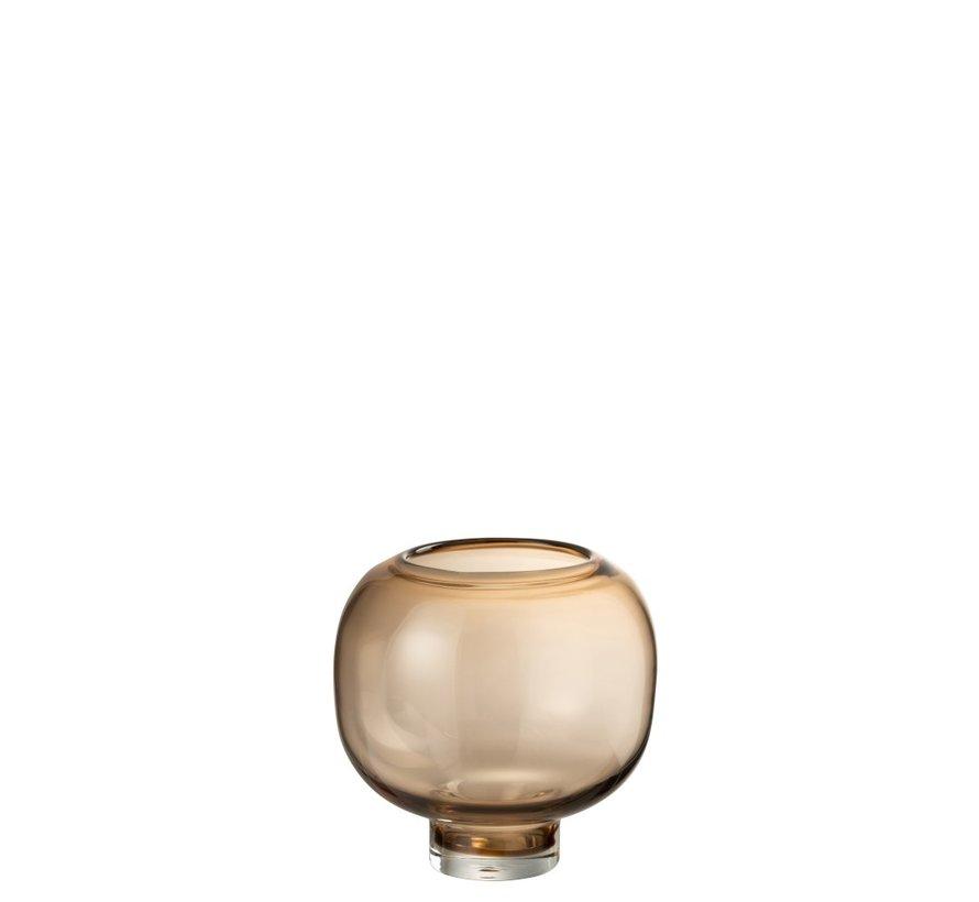 Vaas Glas Op Voet Rond Lichtbruin - Large