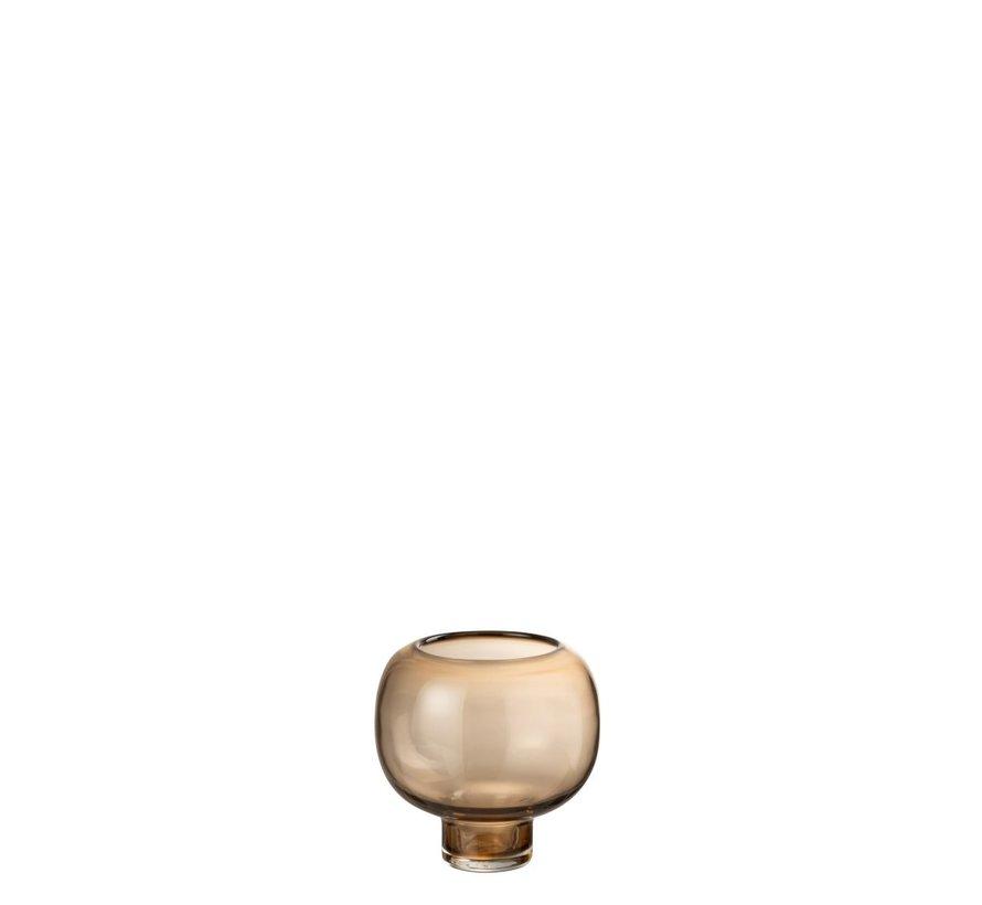 Vaas Glas Op Voet Rond Lichtbruin - Small