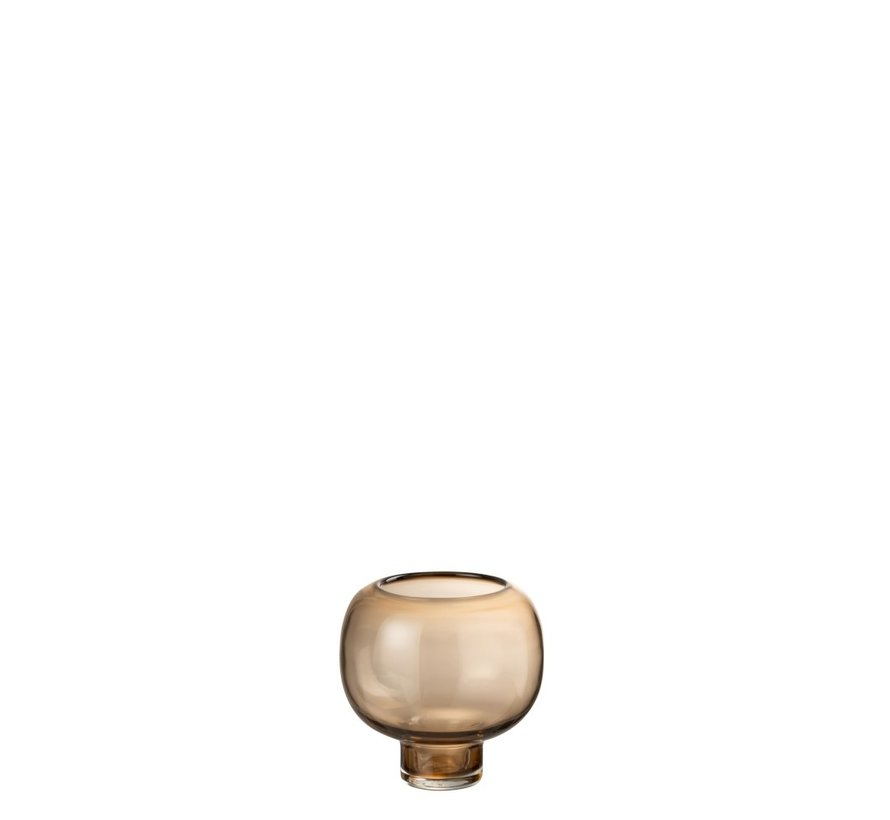 Vase Glass On Foot Round Light Brown - Small