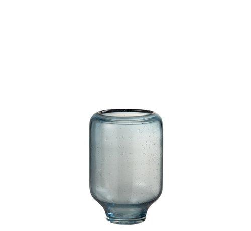 J -Line Vaas Glas Op Voet Luchtbellen Hoog Lichtblauw - Small