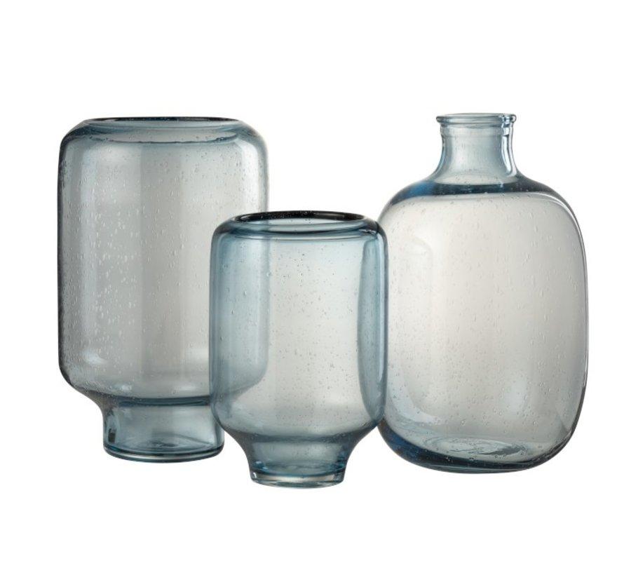 Vaas Glas Op Voet Luchtbellen Hoog Lichtblauw - Small