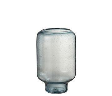 J -Line Vase Glass On Foot Air Bubbles High Light Blue - Large
