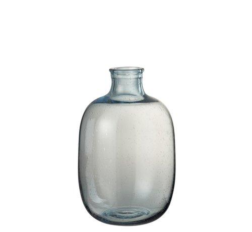 J -Line Bottle Vase Glass Round High Air Bubbles - Light Blue