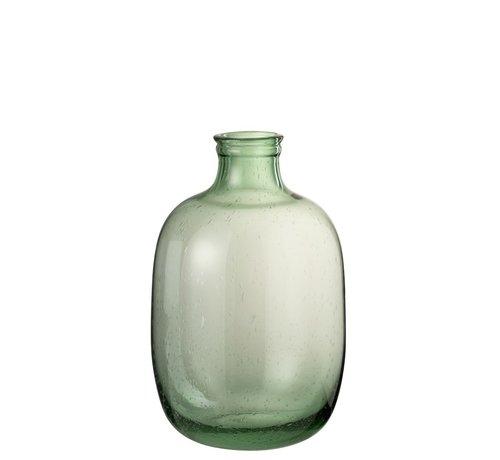 J -Line Bottle Vase Glass Round High Air Bubbles - Light Green