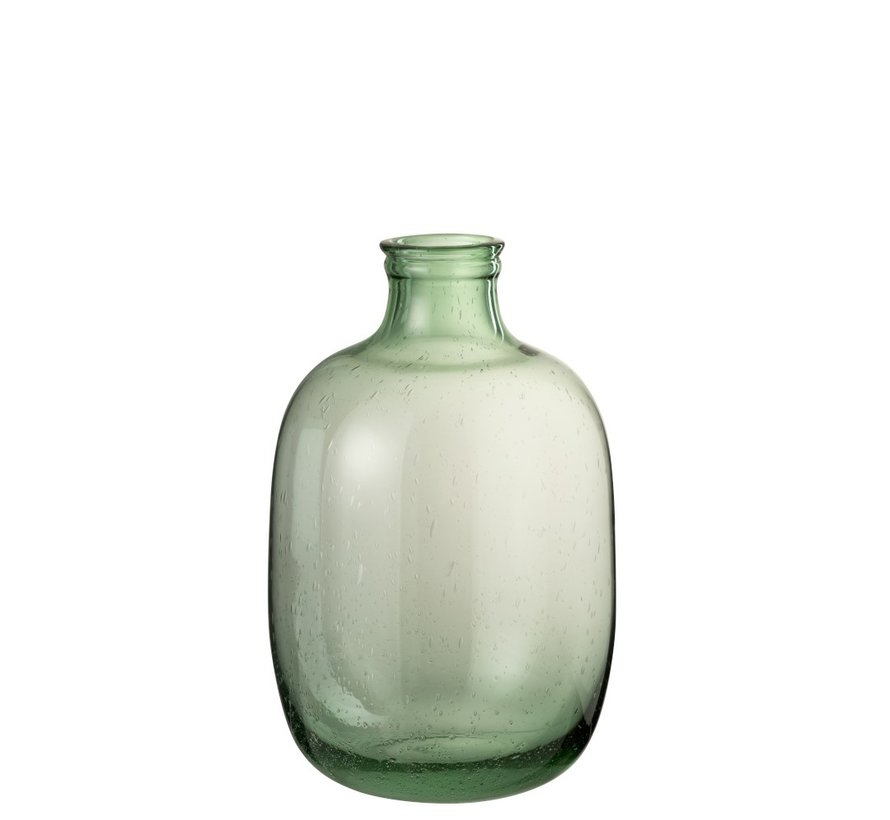 Flessen Vaas Glas Rond Hoog Luchtbellen - Lichtgroen