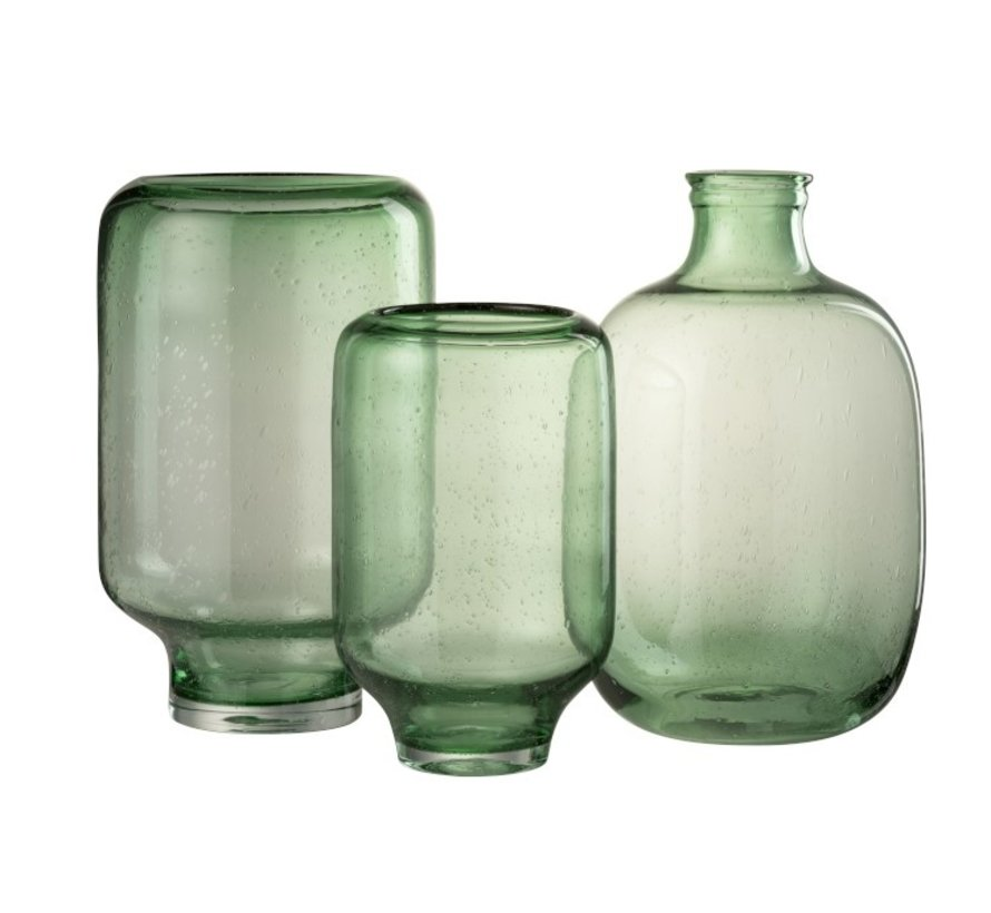 Bottle Vase Glass Round High Air Bubbles - Light Green