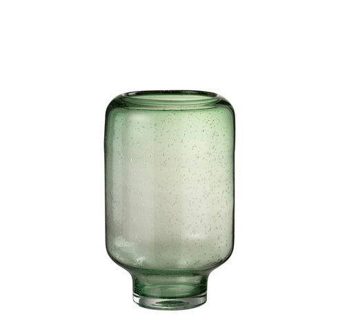 J -Line Vaas Glas Op Voet Luchtbellen Hoog Lichtgroen - Large