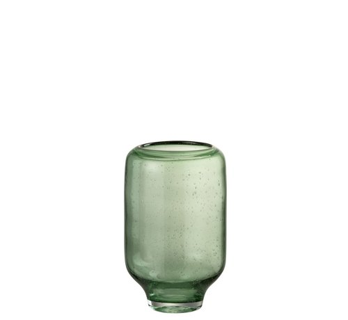 J -Line Vase Glass On Foot Air Bubbles High Light Green - Small
