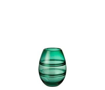 J -Line Vaas Cilinder Gestreept Transparant Groen - Small