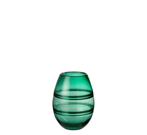 J -Line Vase Cylinder Striped Transparent Green - Small