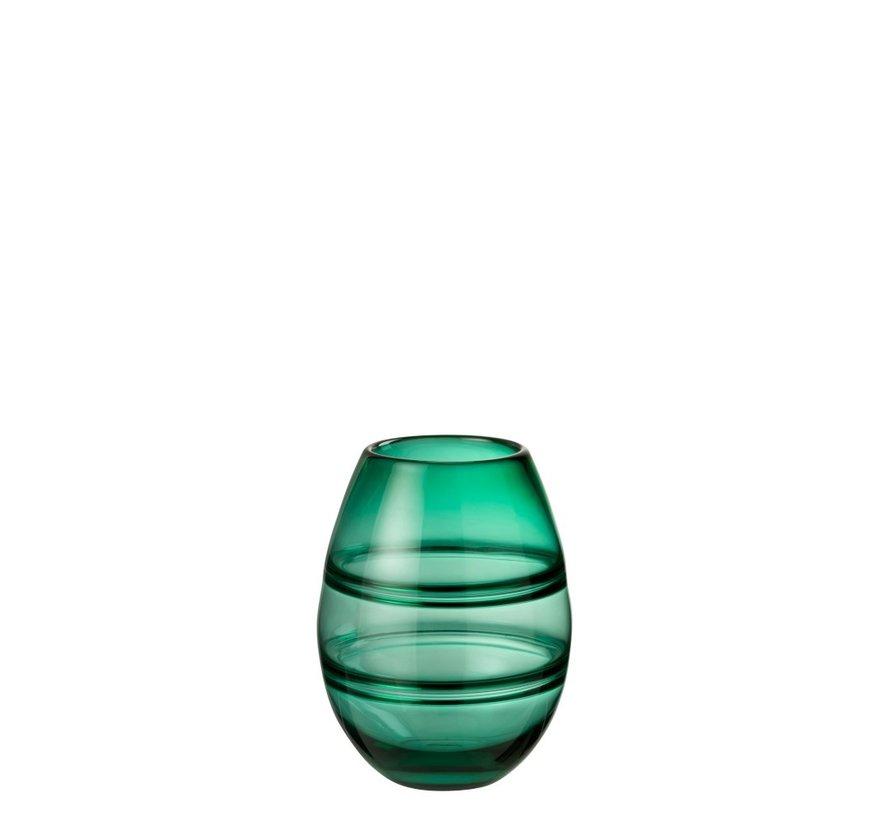 Vaas Cilinder Gestreept Transparant Groen - Small