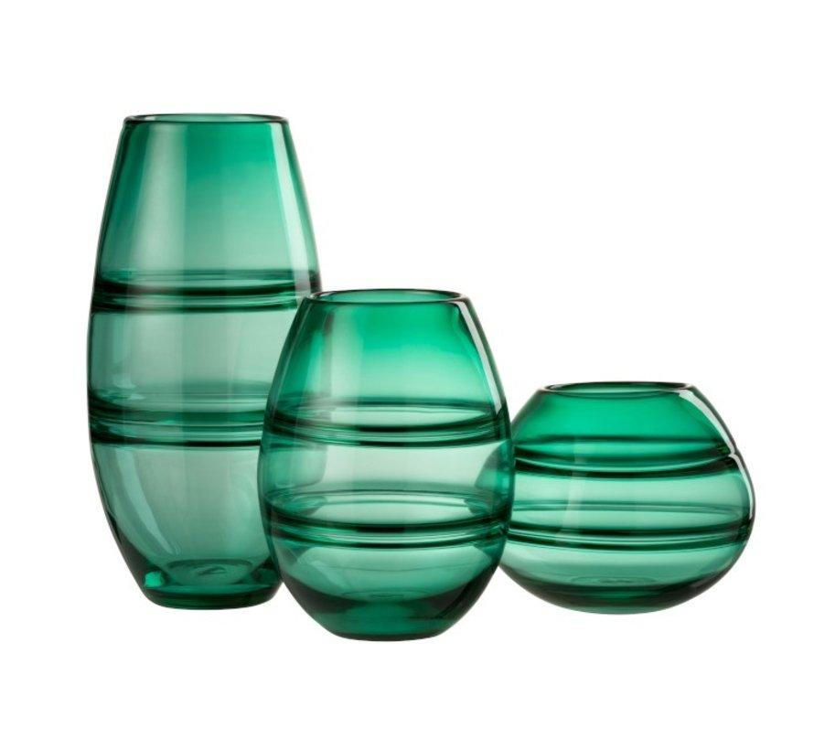 Vase Cylinder Striped Transparent Green - Small