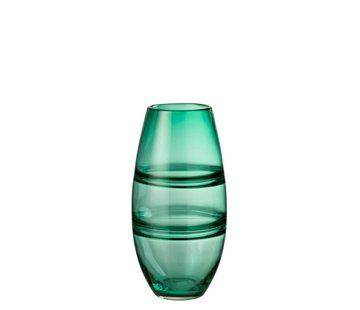 J -Line Vaas Cilinder Gestreept Transparant Groen - Large