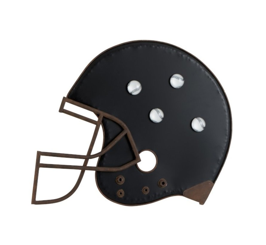 Decoration Chalkboard Baseball Helmet Metal Black - Brown