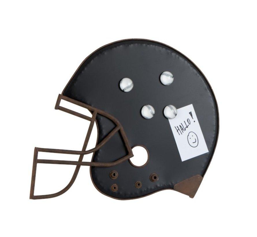 Decoratie Krijtbord Baseball Helm Metaal Zwart - Bruin