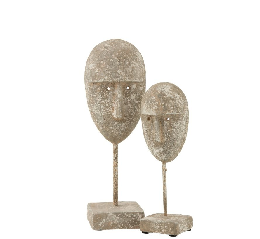 Decoration Face On Foot Cement Gray Beige - Small