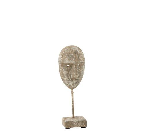 J -Line Decoratie Gezicht Op Voet Cement Grijs Beige - Small