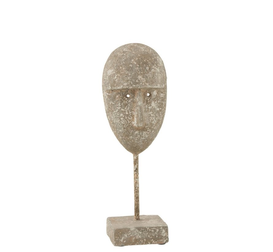 Decoration Face On Foot Cement Gray Beige - Large